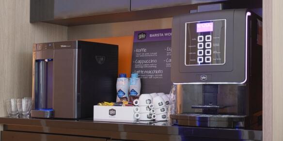 De koffiecorner van zonnestudio Sunday's in Arnhem